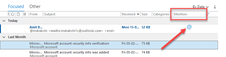 Mention Column for in Microsoft Outlook