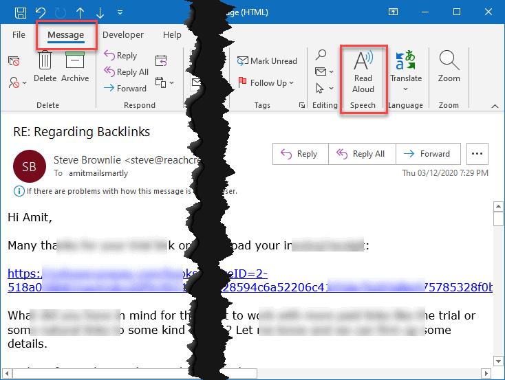 Outlook read aloud not working