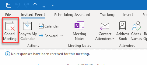 click cancel meeting outlook