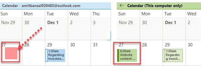 compare meeting calendar Outlook