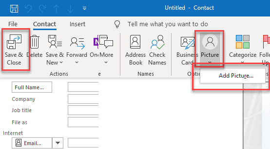 Add picture Outlook Profile