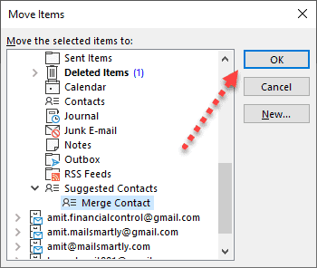 Create New Folder contacts