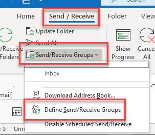 Define Send Receive Groups