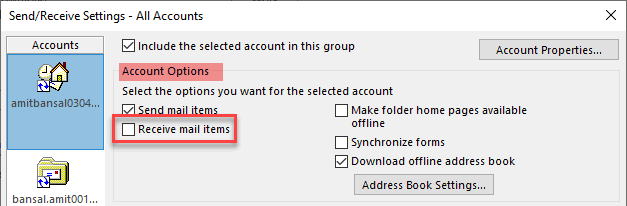 uncheck the option for Receive mail items