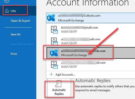 Automatic Replies for Microsoft Exchange Accounts