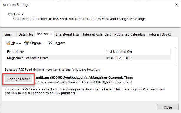 Change folder RSS feed stored