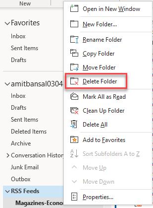 Delete RSS Feed Folder