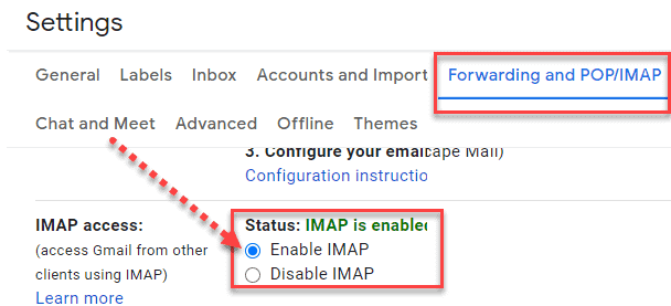 Enable IMAP in your Gmail account