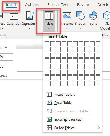 How do I insert a table into Outlook email