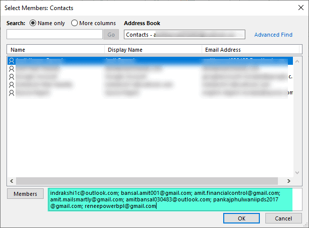 How to save a contact list in Outlook