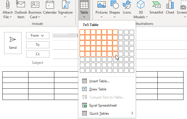 insert a table into Outlook email