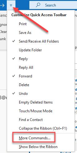 Quick Access Toolbar Outlook