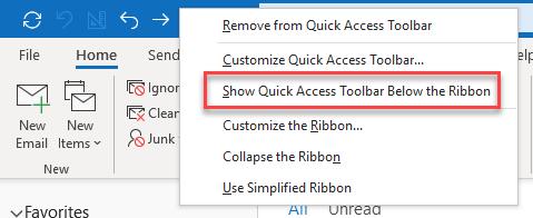 Show Quick access Toolbar below the ribbon