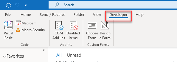 developer tab Outlook