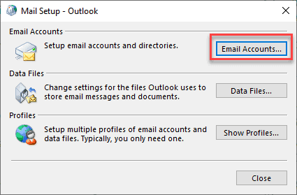 mail setup dialog box