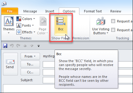 How To Enable the BCC Field in Outlook 2010