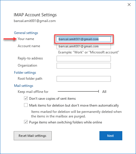account's name on Outlook Email