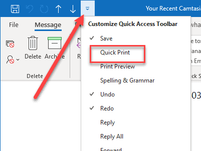 quick print quick access toolbar