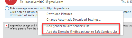 Add Sender Domain to safe sender list