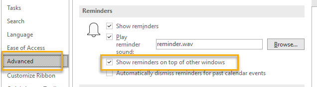 Outlook Reminder On Top
