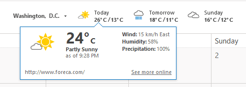 Outlook Weather Settings
