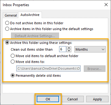 archive this folder using this setting