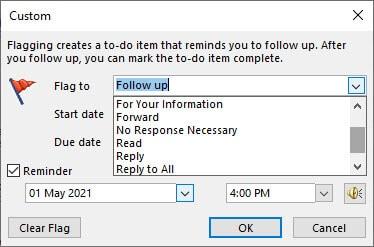custom followup dialog box