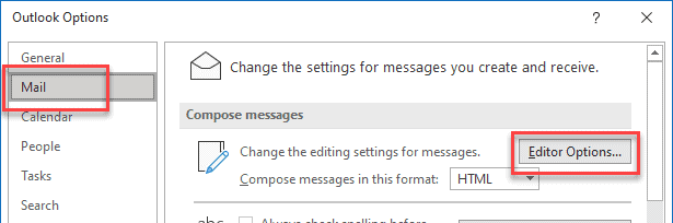 mail editor options