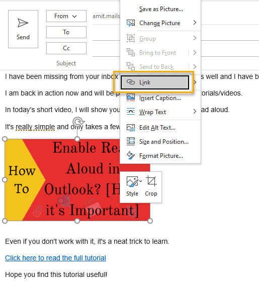 How to hyperlink images in Outlook