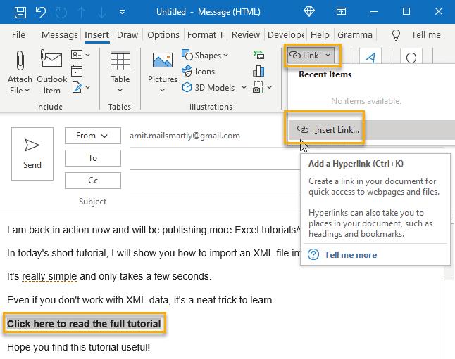 Insert Hyperlinks in Outlook