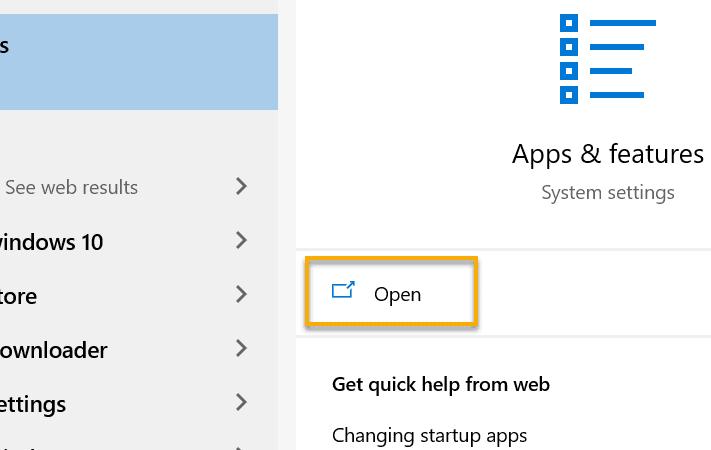 Apps & Features Window 10