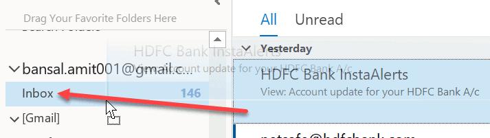 Drag deleted folder in inbox
