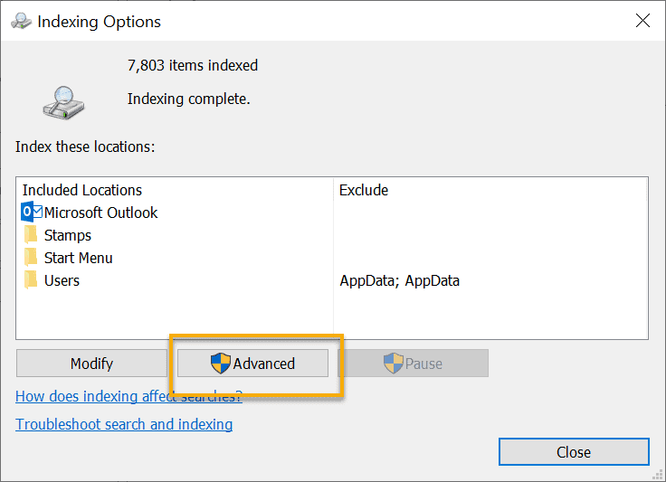 Indexing options dialog box