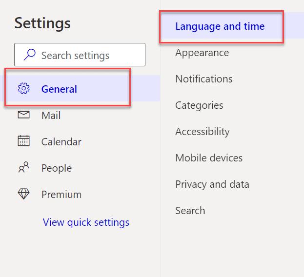 Outlook web settings