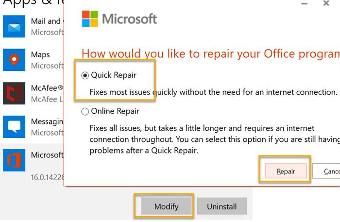 Quick repair Office