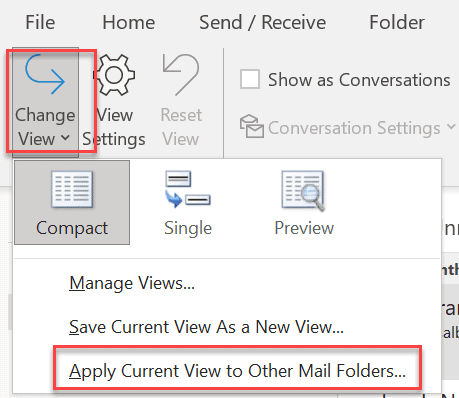 apply current view to other mail folder