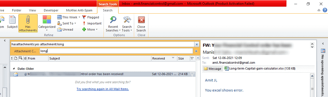How Outlook Search Attachment Name File in Outlook