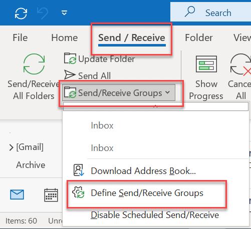 define send receive group
