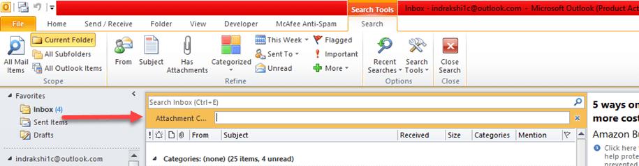 new attachment search bar